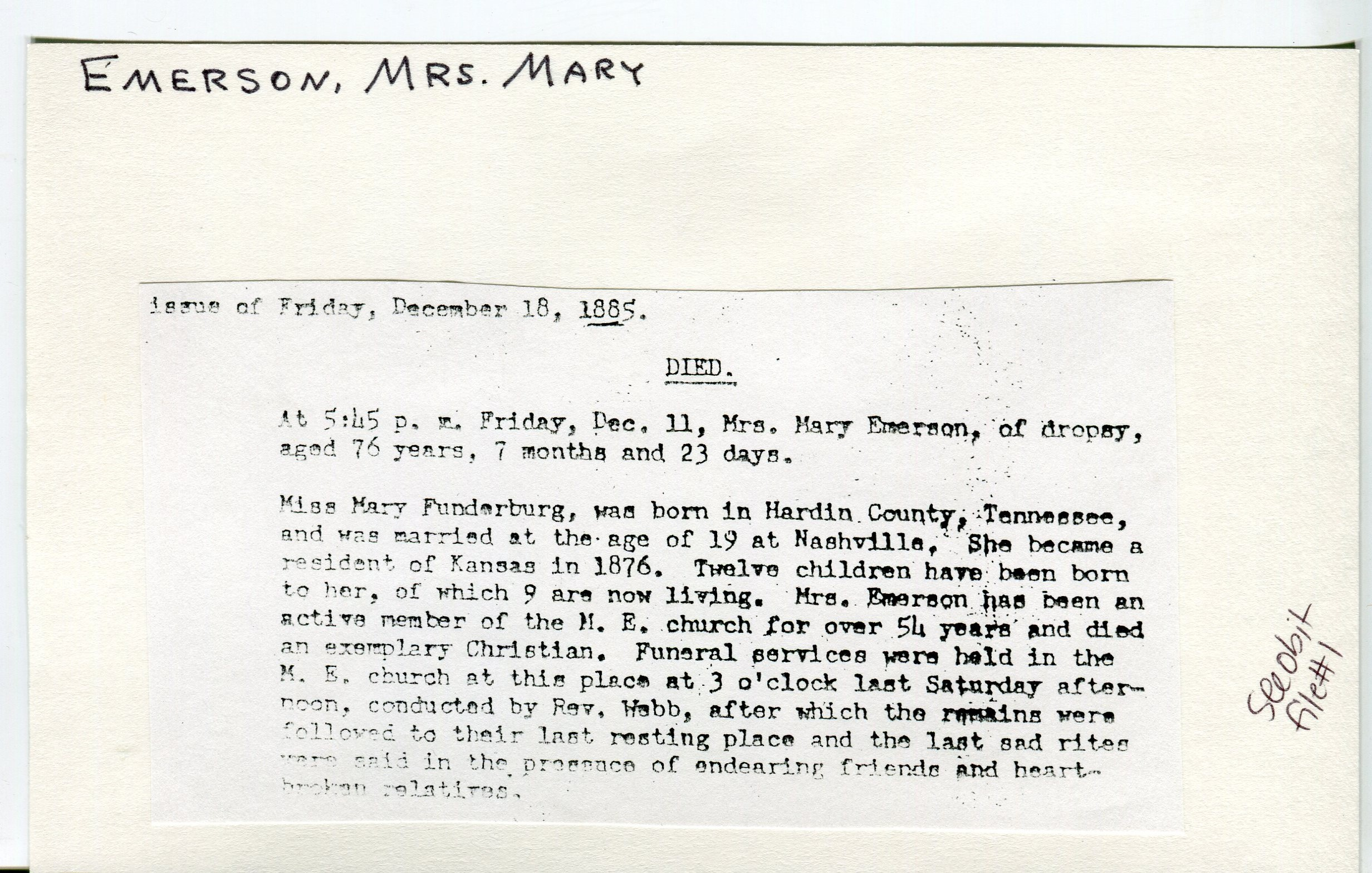 Documents: Obituary- Emerson, Mary 1: Rossville Kansas area genealogy