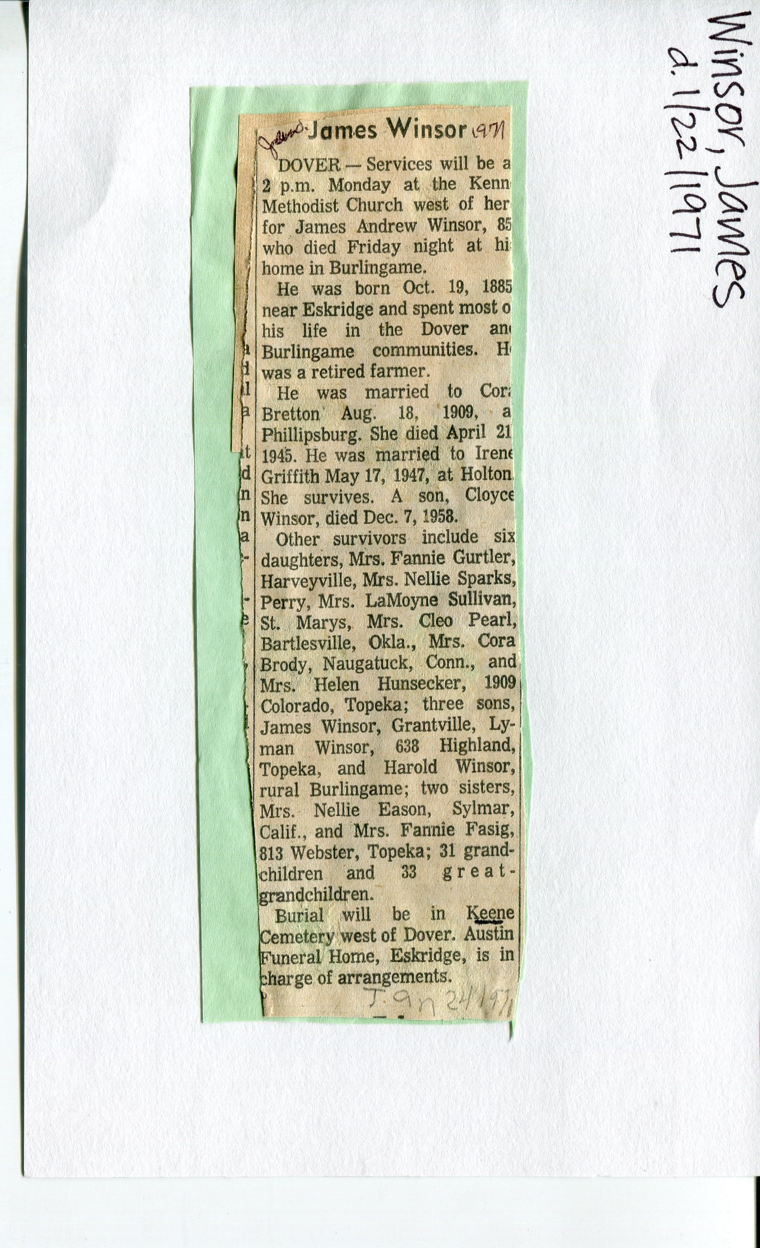 Documents: Obituary- Winsor, James 1: Rossville Kansas area